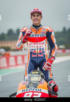 Cheste,Valencia. Spain.18th November 2018. GP Comunitat Valenciana Moto GP. Marc Marquez moto GP rider of Repsol Honda Team is the 2018 Moto GP World Champion . Credit: rosdemora/Alamy Live News - Stock Photo