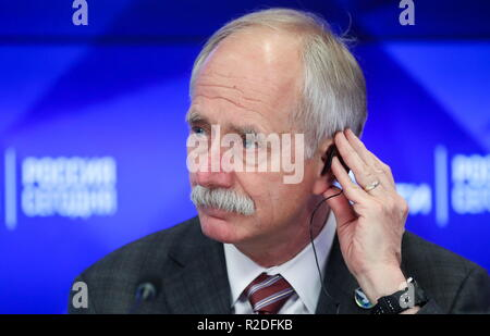 Moscow, Russia. 19th Nov, 2018. MOSCOW, RUSSIA - NOVEMBER 19, 2018: William Gerstenmaier, Associate NASA Administrator for the Human Exploration and Operations Mission Directorate, attends a press conference marking the 20th anniversary of the International Space Station. Sergei Savostyanov/TASS Credit: ITAR-TASS News Agency/Alamy Live News - Stock Photo