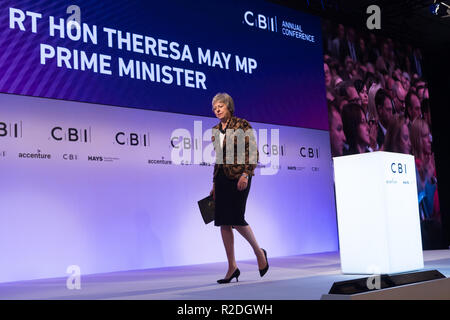 London, Britain. 19th Nov, 2018. British Prime Minister Theresa May leaves after delivering a keynote speech at the annual conference of the Confederation of British Industry (CBI) in London, Britain, on Nov. 19, 2018. Theresa May on Monday enlisted British business leaders to back her much-criticized Brexit deal, insisting that she would not make any change to the draft divorce agreement between London and Brussels. Credit: Ray Tang/Xinhua/Alamy Live News - Stock Photo