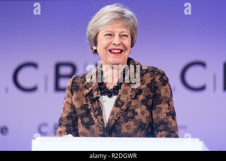 London, Britain. 19th Nov, 2018. British Prime Minister Theresa May delivers a keynote speech at the annual conference of the Confederation of British Industry (CBI) in London, Britain, on Nov. 19, 2018. Theresa May on Monday enlisted British business leaders to back her much-criticized Brexit deal, insisting that she would not make any change to the draft divorce agreement between London and Brussels. Credit: Ray Tang/Xinhua/Alamy Live News - Stock Photo