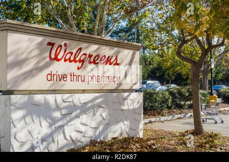 December 6, 2017 San Jose / CA / USA - Walgreens drive thru pharmacy sign - Stock Photo