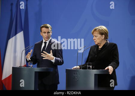 Berlin, Germany. 18th Nov, 2018. Chancellor Angela Merkel welcomes French President Emmanuel Macron for a joint discussion in the Federal Chancellery during the press conference. Credit: Simone Kuhlmey/Pacific Press/Alamy Live News - Stock Photo