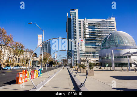 December 6, 2017 San Jose / CA / USA - Downtown urban landscape; banners posted with the message 'We welcome everyone' in various languages on the sid - Stock Photo