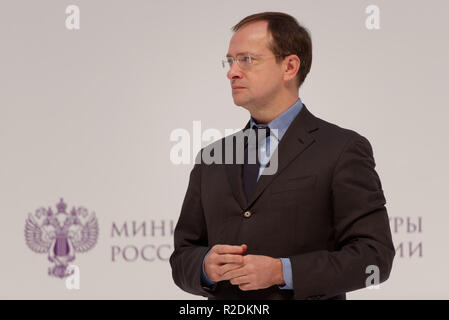 St. Petersburg, Russia - November 17, 2018: Vladimir Medinsky, Russian Minister of Culture on the award ceremony of Lunacharsky prize in the last day  - Stock Photo
