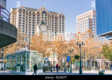 December 6, 2017 San Jose / CA / USA - Pedestrian area in downtown San Jose, south San Francisco bay area - Stock Photo