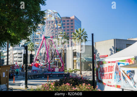 December 6, 2017 San Jose / CA / USA - Ferris wheel at 'Christmas in the park' downtown display in Plaza de Cesar Chavez, Silicon Valley, south San Fr - Stock Photo