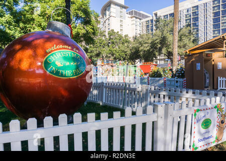 December 6, 2017 San Jose / CA / USA - Entrance to the 'Christmas in the park' downtown display in Plaza de Cesar Chavez, Silicon Valley, south San Fr - Stock Photo