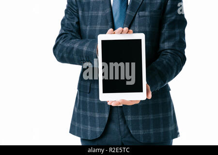 cropped shot of businessman showing tablet with blank screen isolated on white - Stock Photo