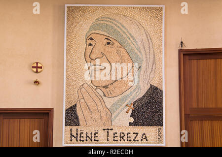 The mosaic of Mother Teresa inside the Saint Paul's Cathedral in Tirana, the capital and biggest city of Albania. September 7, 2018. (CTK Photo/Libor  - Stock Photo