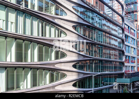 New York City, USA - June 22, 2018: Exterior view of  Condominium Residences, a modern building designed by Zaha Hadid Architects along the High Line - Stock Photo