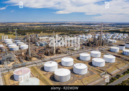 Aerial photo of an oil refinery - Stock Photo