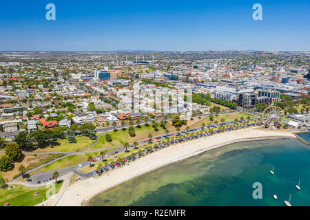 Aerial photo of Geelong in Victoria, Australia - Stock Photo