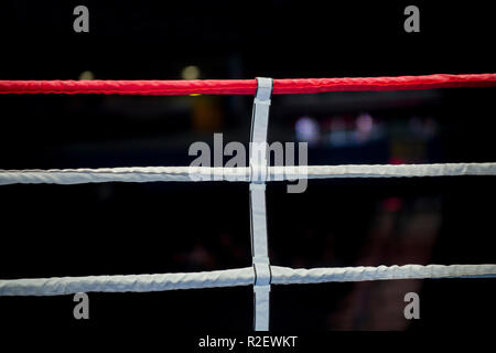 Boxing ring ropes with a blur spotlight - Stock Photo