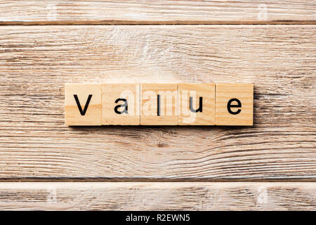 value word written on wood block. value text on table, concept. - Stock Photo