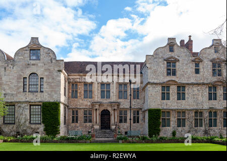 York, England - April 2018: The front facade of The Treasurers House, a historic building located directly to the North of York Minster in the city of - Stock Photo