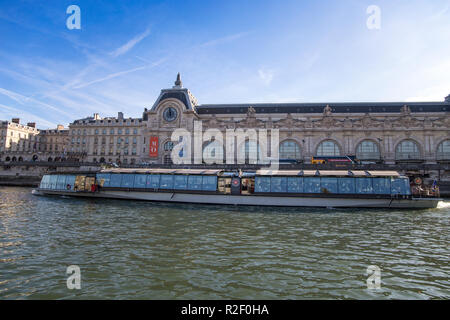 PARIS, FRANCE, SEPTEMBER 8, 2018 - View of Orsay Museum from River Seine in Paris, France - Stock Photo