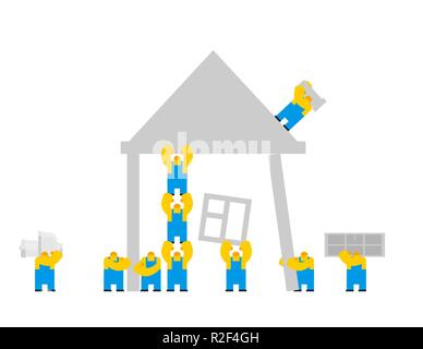 Builders building house. cartoon style. Workers and home. Walling and roof construction. Fastening Windows and doors - Stock Photo