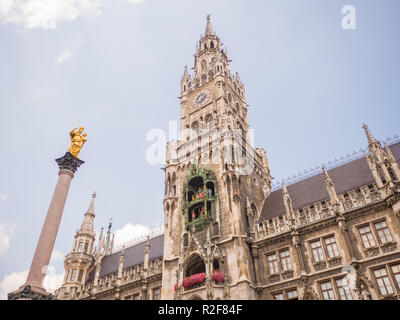 New Town Hall on Marienplatz square in Munich, Germany. - Stock Photo