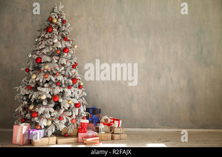Christmas new year tree holiday winter gifts decorations background - Stock Photo