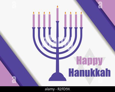 Happy hanukkah. Hanukkah candles. Menorah with nine candles. Vector illustration - Stock Photo