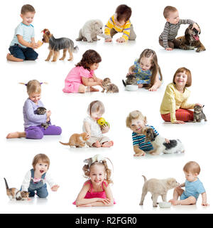 set of children babies kids with pets isolated on white - Stock Photo