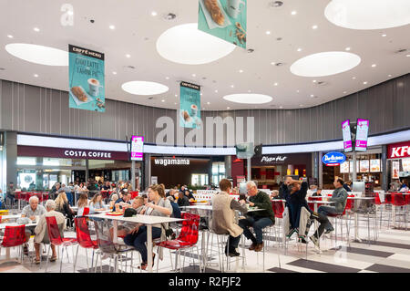 Food court in Kings Avenue Mall, Tombs of the Kings Avenue, Paphos (Pafos), Pafos District, Republic of Cyprus - Stock Photo