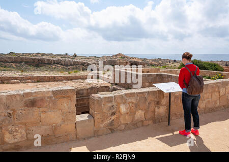 Ground-level of carved rock tomb in The Tombs of the Kings, Tombs of the Kings Avenue, Paphos (Pafos), Pafos District, Republic of Cyprus - Stock Photo