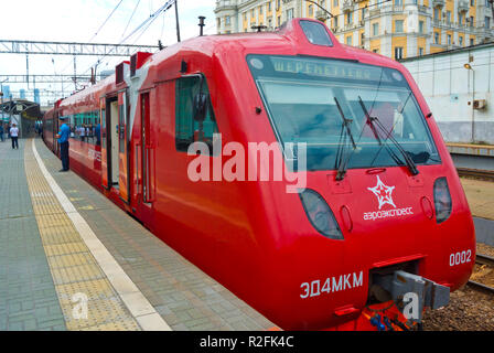 Aeroexpress, airport train, Belorussky Vokzal, Belorussian railway station, Moscow, Russia - Stock Photo