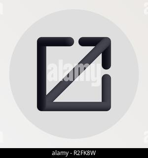 Exit blended bold black line icon. Vector illustration of exit arrow shape fluid pictogram in a circle over white background for your design - Stock Photo