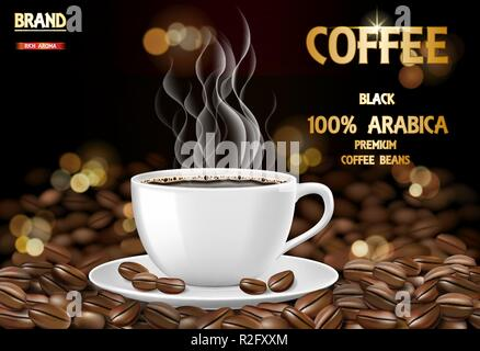 Arabica coffee cup with smoke and beans ads. 3d illustration of hot arabica coffee mug. Product package design background. Vector - Stock Photo