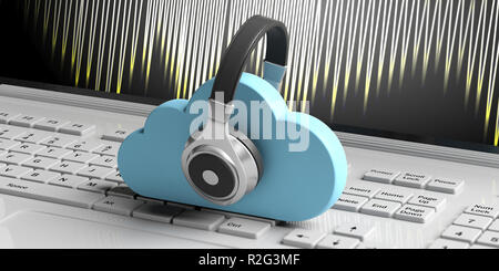 Cloud computing music storage. Blue clouds and headphones on computer keyboard background. 3d illustration - Stock Photo