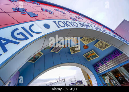Tokyo Disneyland station sign at the Disney Resort Line monorail system in Chiba, Japan - Stock Photo
