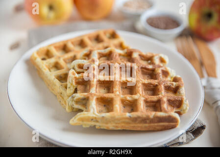 healthy whole grain waffles - Stock Photo