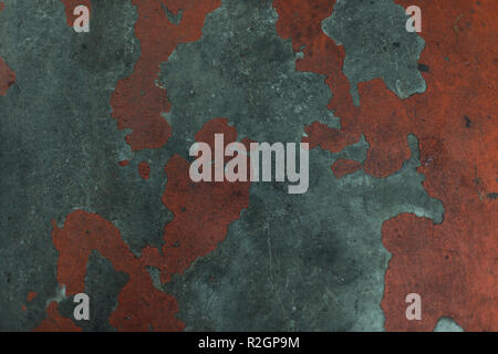A grungy old painted concrete texture in gray and red color - Stock Photo