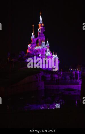 Disneyland Paris, France, November 2018: Sleeping Beauty's Castle at night. - Stock Photo