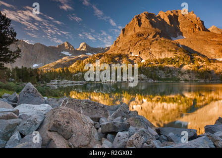 Mount Robinson over Fifth Lake at sunrise, Big Pine Lakes, The Palisades region, John Muir Wilderness, Eastern Sierra Nevada, California, USA - Stock Photo