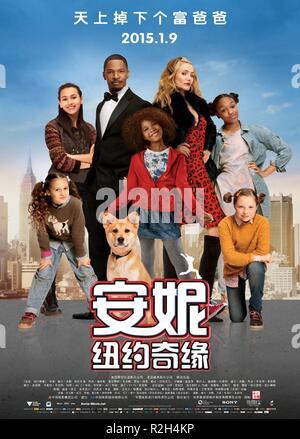 Annie Year : 2014 USA Director : Will Gluck Jamie Foxx, Quvenzhane Wallis, Cameron Diaz Movie poster (China) - Stock Photo