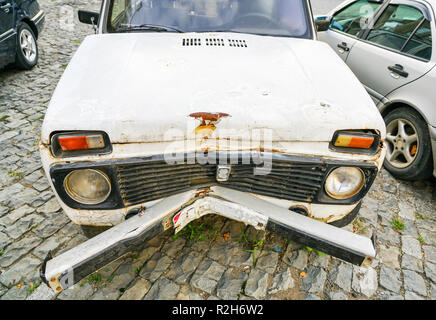 Bad view of the car after the road accident - Stock Photo