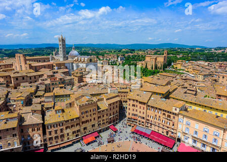 Piazza del Campo, Siena - Aerial view of the historic town with beautiful landscape scenery on a sunny summer day in Tuscany, walled medieval hill tow - Stock Photo