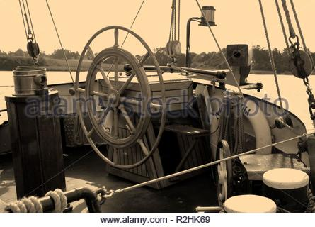 steering position at the rear - Stock Photo