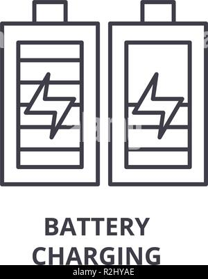 Battery charging line icon concept. Battery charging vector linear illustration, symbol, sign - Stock Photo
