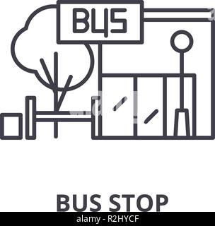 Bus stop line icon concept. Bus stop vector linear illustration, symbol, sign - Stock Photo
