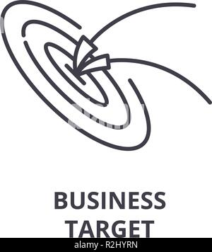 Business target line icon concept. Business target vector linear illustration, symbol, sign - Stock Photo