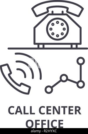 Call center office line icon concept. Call center office vector linear illustration, symbol, sign - Stock Photo
