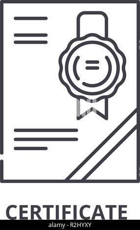 Cerificate line icon concept. Cerificate vector linear illustration, symbol, sign - Stock Photo