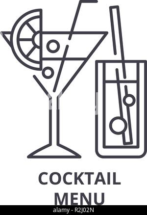 Cocktail menu line icon concept. Cocktail menu vector linear illustration, symbol, sign - Stock Photo