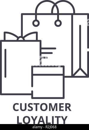 Customer loyality line icon concept. Customer loyality vector linear illustration, symbol, sign - Stock Photo