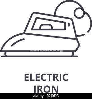 Electric iron line icon concept. Electric iron vector linear illustration, symbol, sign - Stock Photo