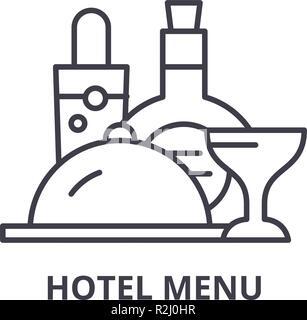 Hotel menu line icon concept. Hotel menu vector linear illustration, symbol, sign - Stock Photo