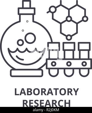 Laboratory research line icon concept. Laboratory research vector linear illustration, symbol, sign - Stock Photo